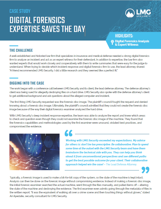 Case Study – Digital Forensics Expertise Saves the Day